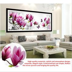 Cheap decorative embroidery, Buy Quality embroidery digital directly from China embroidery cross stitch kits Suppliers: DIY 5D Diamond Embroidery Butterflies play Magnolia Round Diamond Painting Cross Stitch Kits Diamond Mosaic Home Decor