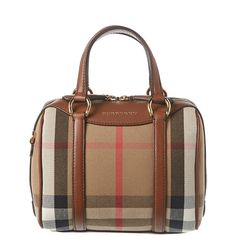 Burberry Alchester Small House Check & Leather Bowler (393361601) (35,545 THB) ❤ liked on Polyvore featuring bags, handbags, brown, bowling bags, leather man bags, brown hand bags, brown purse and hand bags