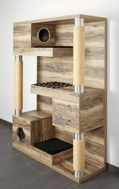 Cats Toys Ideas - If there was a cat tower that could do it all while looking ultra hip in your home – surely it has to be this! The Catframe combines a contemporary wood cat tree, sisal rope scratching posts,… - Ideal toys for small cats Armoire Palettes, Diy Cat Tree, Cool Cat Trees, Wood Cat, Wooden Cat Tree, Wooden Cat House, Wood Tree, Pallet Cabinet, Cat Towers