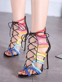 Lace up women high heel sandals YS-C5597-Lovelyshoes.net