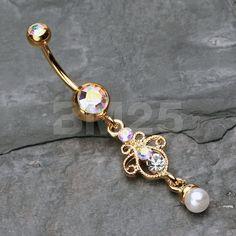 Oro elegante piedras preciosas perlas cuelgan ombligo anillo
