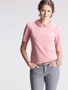 Tee-shirt col claudine rose - Cyrillus