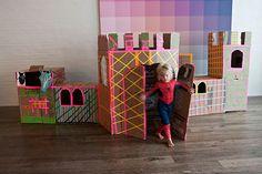 castillo de cartón cardboard castle washi tape spiderman diy niños kids children miraquechulo