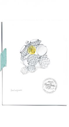 A sketch of Tiffany's newest jewelry collection, Tiffany Paper Flowers™. Gouache, Jewellery Sketches, Jewelry Sketch, Jewellery Designs, Diamond Crown Ring, Victoria Kay, Jewelry Design Drawing, Islamic Art Calligraphy, Love Charms