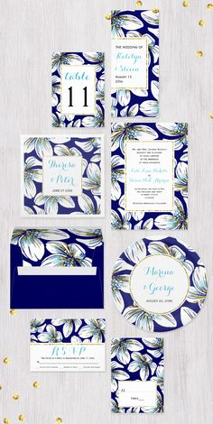 Tropical flowers with aqua and gold foil details modern summer #weddinginvitations collection.