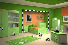 Sporty theme in green teen bedroom. If only there wasn't soccer balls so it could be for a girl...