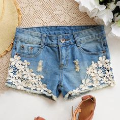 Floral Crochet-Detail Denim Shorts