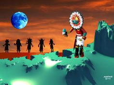 """Blue Star Katchina....An ancient Hopi Indian prophecy states, """"When the Blue Star Kachina makes its appearance in the heavens, the Fifth World will emerge"""".  This will be the Day of Purification. It will come when the Saquasohuh (Blue Star) Kachina dances in the plaza and removes his mask"""