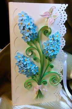 """Купить Шоколадница """"Незабудки"""" - комбинированный, Квиллинг, бумажные цветы, незабудки, цветы ручной работы, шоколадница"""