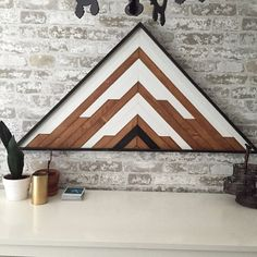 Large Reclaimed Wood Wall Art - Triangle Centerpiece x Statement piece Wall hanging // Snowcapped Mountains