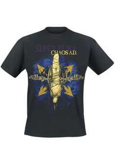 "Classica T-Shirt uomo nera ""Chaos A.D. 30 years"" dei #Sepultura."