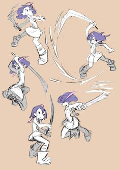 Sword girl sketches by The-Pink-Pirate