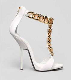 WHITE T-STRAP W GOLD ANKLE CHAIN SANDALS $245.00