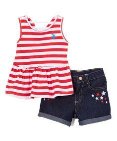 Red Americana Stripes Tank & Shorts - Infant & Girls