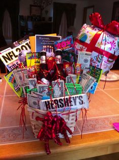 I attempted to make a birthday gift basket for my boyfriends bday and I .... NAILED it! It came out awesome!