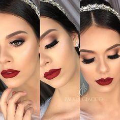 Ideas wedding makeup for brown eyes bridal lipsticks Bridal Makeup Red Lips, Bridal Lipstick, Red Lips Makeup Look, Bride Makeup, Wedding Hair And Makeup, Eye Makeup, Hair Makeup, Prom Makeup, Wedding Makeup For Brunettes