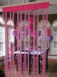 HomeMadeville: Girls Birthday Party Decorations KZ Note DYI: cardboard cover w/ black fabric and staple gun. Add roll of sheer black ribbon,& creepy cloth (cheese cloth) staple gun and hang from door way divide.