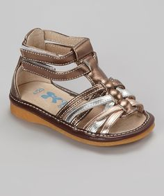 Take a look at this Champagne & Silver Strappy Squeaker Sandal on zulily today!
