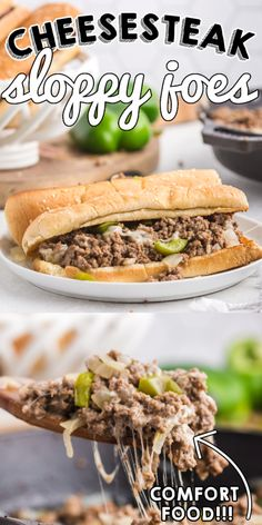 This Philly Cheesesteak Sloppy Joes recipe is easy to make and ready in 20 minutes. These cheesesteaks are some serious comfort food that the entire family will love! These Sloppy Joes are an easy and quick weeknight meal with a Philly Cheesesteak flair. The submarine rolls are filled with ground beef, bell peppers, onions, and topped with cheese. Easy Holiday Recipes, Easy Meat Recipes, Ground Beef Recipes, Side Dish Recipes, Pork Recipes, Lunch Recipes, Easy Dinner Recipes, Slow Cooker Recipes, Appetizer Recipes