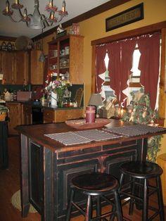 country primitive home tour Primitive Homes, Primitive Kitchen, Country Primitive, Rustic Kitchen, Kitchen Decor, Kitchen Ideas, Colonial Kitchen, Nice Kitchen, Red Kitchen