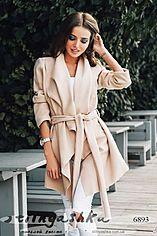 Женское укороченное кашемировое пальто без подкладки беж 6893