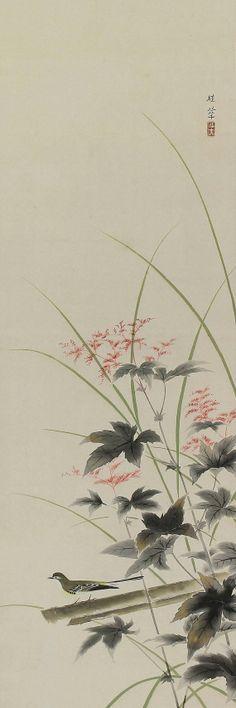 Bush warbler in autumn flower by Kanashima Keika. Japanese Hanging Scroll.