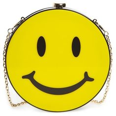 Women's Natasha Couture Smiley Clutch ($98) ❤ liked on Polyvore featuring bags, handbags, clutches, yellow, natasha couture, natasha couture clutches, chain handle handbags, circle handbags and chain strap purse