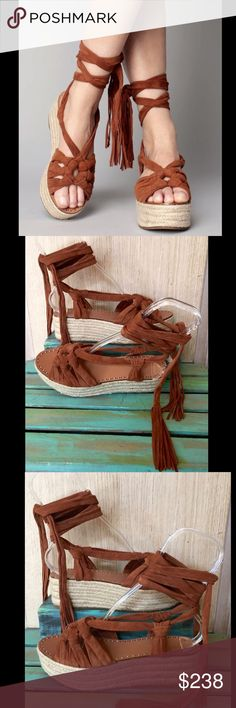 """Anthropologie Sigerson Morrison Suede Espadrille 9 Anthropologie Sigerson Morrison brown rust Suede Lace Up Espadrilles Sandals super soft luxe suede knotted lace up sandals with tassel ends 2.5"""" raffia wrapped wedge * 1.5"""" front platform  New Without Box  *  Size:  9 retail price:  $325.00  * fits true to size  suede uppers natural raffia platform wedge heel  rubber sole Anthropologie Shoes Espadrilles"""