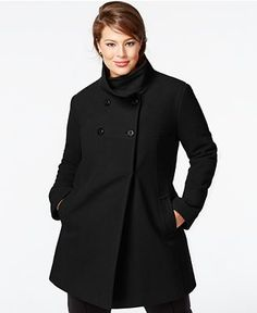 Levine Plus Size Walker Coat Women - Coats - Macy's Winter Coat Outfits, Plus Size Winter Outfits, Plus Size Outerwear, Plus Size Coats, Winter Coats Women, Coats For Women, Clothes For Women, Curvy Girl Fashion, Plus Size Fashion