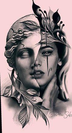 19 Drawing Body Videos Back girl face Tattoo Girls, Girl Face Tattoo, Girl Face Drawing, Drawing Eyes, Pencil Art Drawings, Tattoo Drawings, Art Sketches, Drawing Art, Tattoo Art
