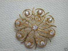 Antique European Diamond Sunburst Pin Pendant Vintage Estate Brooch 14K Bridal