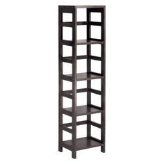 Winsome Wood Narrow Shelving Unit, Espresso Part of Winsome Wood's modular shelving unit collection, this narrow four-shelf model features a tall Narrow Bookshelf, Bookshelves, Narrow Shoe Rack, 4 Tier Shelf, Wood Shoe Rack, Shoe Racks, Leo, Houses, Wood