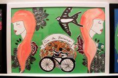 Arte de lena Muniz, exposição Rio de janeiro. aquarela, colagem com tecido, bordado e nanquim.