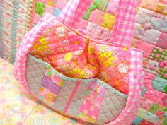 Antique Fabric Pinks Patchwork Quilt Bag アンティークファブリックピンクス