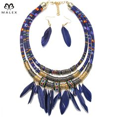 Exaggerated Women Feather Necklace With Earrings Accessories Exo Cloth Pipes Chain With Metal Spring Statement Necklace NK1250