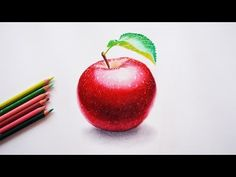How to draw an apple? watercolor pencils. - YouTube