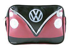 VW Collection by BRISA Shoulder Bag  RedBlack Camper Bus Front Official VW Licensed Product ** Click image to review more details.