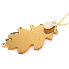 Large Oak leaf and acorn necklace, laser cut wood and acrylic jewellery