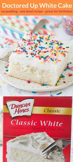 Our family LOVES this doctored up white cake mix recipe! The cake turns out so moist and flavorful, gets tons of compliments each time I make it, plus no one knows it starts with a box mix! #doctorupwhitecake #doctoredupcakemix