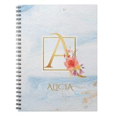 "Organize your day with this light blue marbleized custom notebook and even personalize it with your own name! Featuring a floral golden monogram letter ""A"" in a gold foil frame, embellished with beautiful watercolor flowers on the front cover, this notebook is a great way to show off your personal style and keep track of all your important notes."