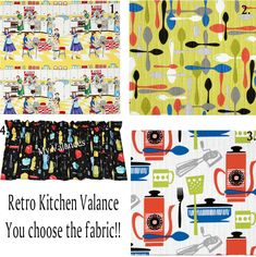 Retro Kitchen curtain Valance You choose the fabric! Add a bit of whimsy to your kitchen with these vintage look valances.  #choose #curtain #fabric #kitchen #retro #valance #whimsy