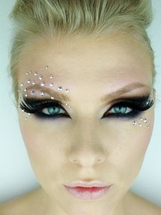 Stunning smokey eyes with killer lashes and crystal embellishments.