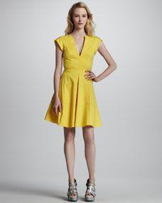 Zorba Cutout-Back Cotton Dress, Marigold