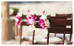 Pink floral chair decor- Flowers by Heidi, Four Seasons Resort Hualalai Weddings