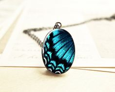 Blue Butterfly Wing Necklace, Valentines Day Gift, Butterfly Jewelry, Teal Blue and Black Pendant Charm N138 on Etsy, $10.00