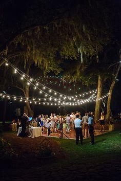 string light dance floor at RiverOaks in Charleston | Clay Austin #wedding