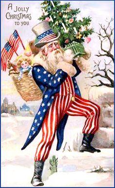 antique vintage post card christmas printable picture decor patriotic santa claus
