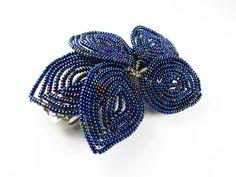 Vintage Cobalt Blue Iridescent Bead Hair Clip / by MyChouChou, $8.50