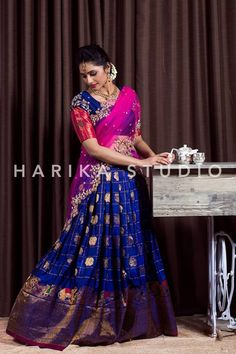 Gorgeous Half saree from Harika Studio. We can customise the colour and size as per your requirement. We can customise the colours and size as per your requirement To Order with us : WhatsApp 8179593237 or 9949589241 Kids Blouse Designs, Bridal Blouse Designs, Saree Blouse Designs, Sari Blouse, Half Saree Lehenga, Lehnga Dress, Half Saree Designs, Lehenga Designs, Mehndi Designs