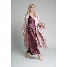 22 Momme Full Length Women Silk Robe With Trimming